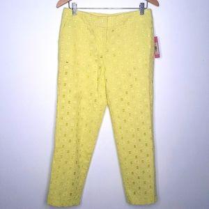 Issac Mizrahi Yellow Eyelet Capri Crop Pants